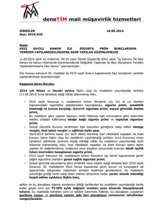 26.09.2014 2014_026 6552 Sayılı Kanun İle