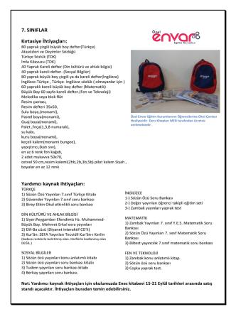 7. Sınıflar İhtiyaç Listesi