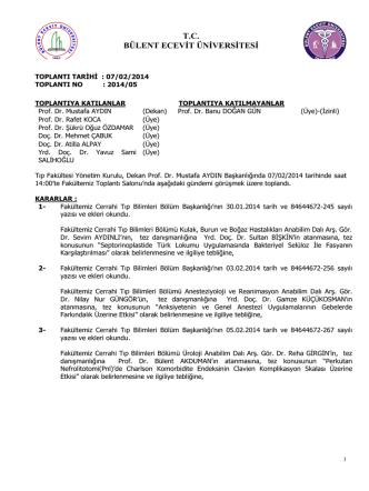 07/02/2014 Tıp Fakültesi Yönetim Kurulu Kararı