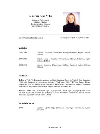 A. Zeynep Açan Aydın - İngiliz Dilbilimi Bölümü