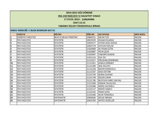 2014-2015 güz dönemi ıng-238 ingilizce ıv muafiyet sınavı 17 eylül