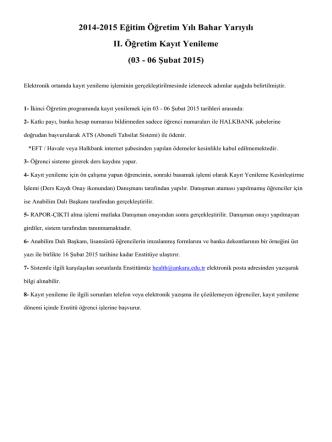 2014-2015 Eğitim Öğretim Yılı Bahar Yarıyılı II. Öğretim Kayıt Yenileme