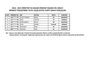 2014 - 2015 öğretim yılı bahar dönemi yabancı dil sınavı merkezi