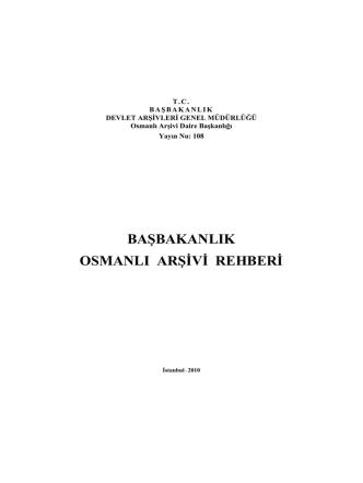 başbakanlık osmanlı arşivi rehberi