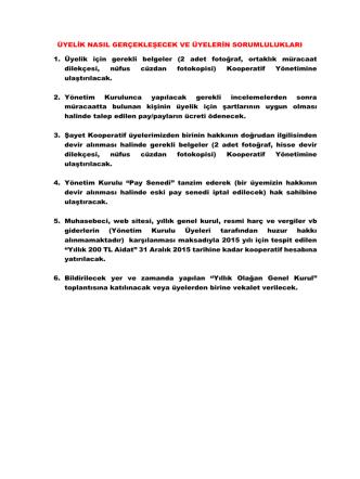 2) Üyelik için gerekli belgeler - Yeni Güç Birliği Konut Yapı Kooperatifi