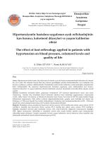 Hipertansiyonlu hastalara uygulanan ayak refleksolojinin kan