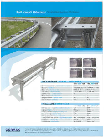 Basit Mesafeli Otokorkuluk /Single Sided Guardrail With Spacer