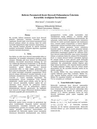 Belirsiz Parametreli Kesir Dereceli Polinomların
