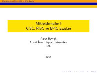 2. Ders - Alper BAYRAK - Abant İzzet Baysal Üniversitesi