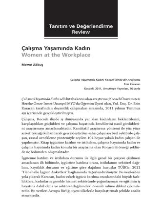 Çalışma Yaşamında Kadın Women at the Workplace
