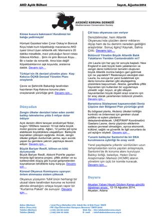 ağustos 2014 sayı 6 - Akdeniz Koruma Derneği
