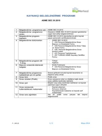 ASME Sec.9-2010 Kaynakçı Belgelendirme Programı