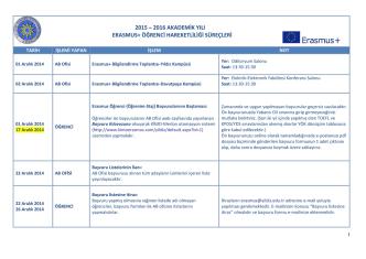 2015-2016 Erasmus+ Süreç Takvimi