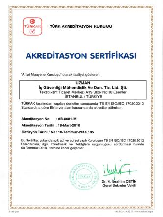 Akreditasyon Sertifikası ( Belge için tıklayınız. )