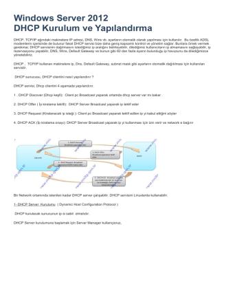 9_Windows Server 2012 DHCP Kurulum ve Yapılandırma