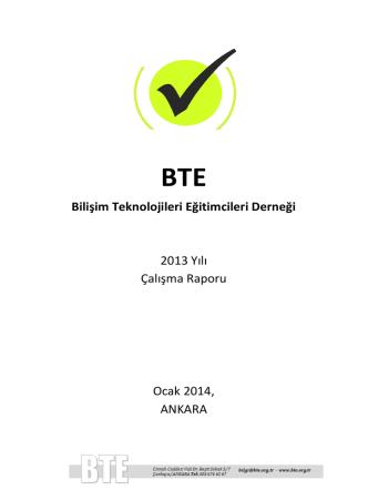 Bilişim Teknolojileri Eğitimcileri Derneği 2013 Yılı Çalışma Raporu