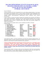 2014-2015 DÖNEMİNDE GÜZ/GÜZ+BAHAR OLARAK ERASMUS