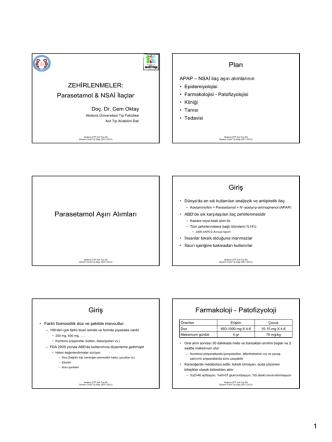 1 Plan Parasetamol Aşırı Alımları Giriş Giriş Farmakoloji