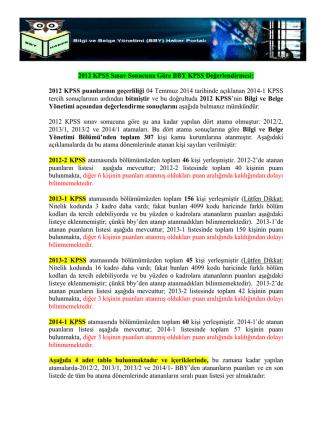 2012 KPSS Sonuçlarına Göre BBY KPSS Puan ve Sıralama Tablosu