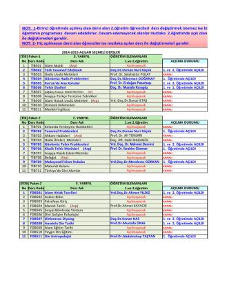 2014-2015 Güz Yarıyılı Açılan SEÇMELİ Dersler
