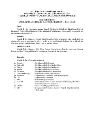 Coğrafi Bilgi Sistemleri Şube Müdürlüğü