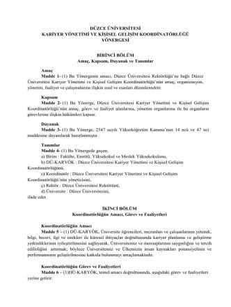 D.Ü. Kariyer Yönetimi ve Kişisel Gelişim Koordinatörlüğü Yönergesi