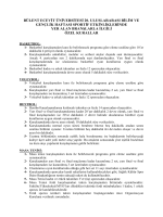Özel Kurallar - Bülent Ecevit Üniversitesi