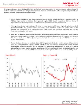 Brent petrol ve altın toparlanıyor