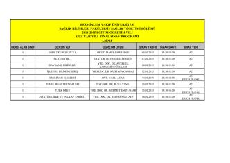 2014-2015 Güz Dönemi I. Sınıf Final Sınav Programı
