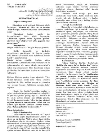 04.10.2014 Tarihli Hutbe : KURBAN BAYRAMI