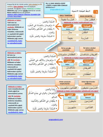 11.sınıf arapca 1.ünite 2.ders