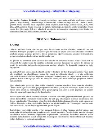 2030 Yılı Tahminleri - Teknoloji Stratejisi