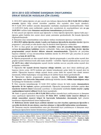 2014-2015 GÜZ DÖNEMİ DANIŞMAN ONAYLARINDA DİKKAT