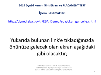 1 DynEd Kurum Giriş Ekranı ve Placament TEST