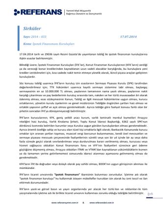 2014-033 İpotek Finansmanı Kuruluşları