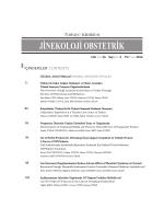 Sayının İçindekiler - Türkiye Klinikleri