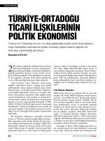 Türkiye-OrTadOĞU TiCari ilişkilerinin POliTik ekOnOmiSi