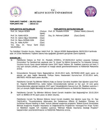 28/03/2014 Tıp Fakültesi Yönetim Kurulu Kararı