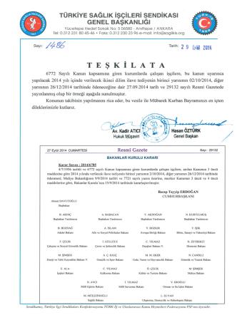 2014 yılı 2. dilim ilave tediye - Türkiye Sağlık İşçileri Sendikası