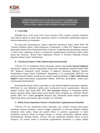 A. Genel Bilgi Bilindiği üzere, 6102 sayılı Türk Ticaret Kanunu (TTK