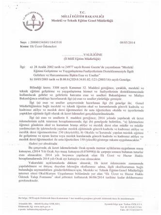 08/05/2014 tarih ve 1843518 sayılı yazı