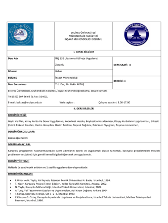 28-Ulaştırma-II(Proje Uyg.) - İnşaat Mühendisliği Bölümü