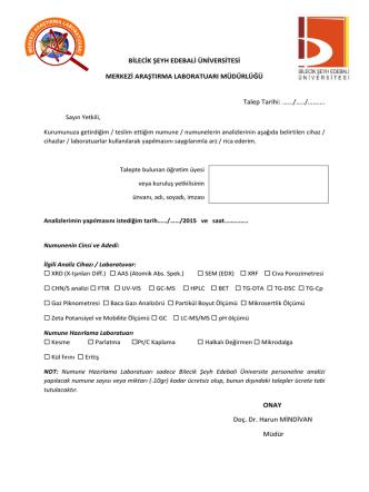 Analiz Randevu Dilekçesi - Bilecik Şeyh Edebali Üniversitesi