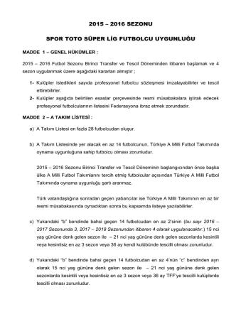 2015 – 2016 sezonu spor toto süper lig futbolcu uygunluğu