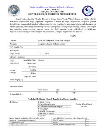 1-Kayıt Formu - Akşehir Ticaret ve Sanayi Odası