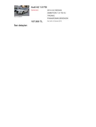 Audi A2 1.6 FSI 107.500 TL İlan detayları