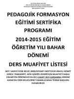 Pedagojik Formasyon Eğitimi Sertifika Programı Bahar Dönemi Ek