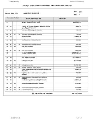 1.7 bütçe giderlerinin fonksiyonel sınıflandırılması tablosu 01 07