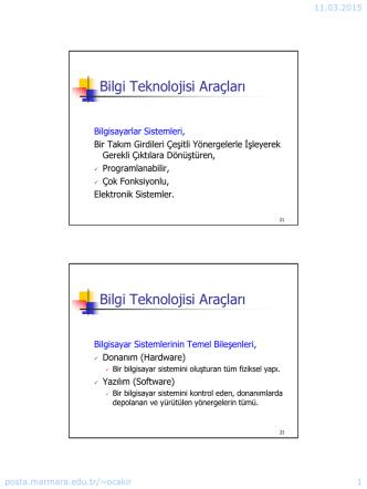 Bilgi Teknolojisi Araçları Bilgi Teknolojisi Araçları