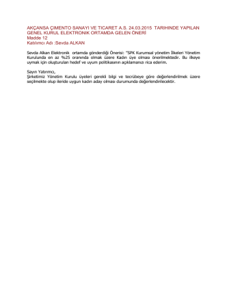 AKÇANSA ÇIMENTO SANAYI VE TICARET A.S. 24.03.2015